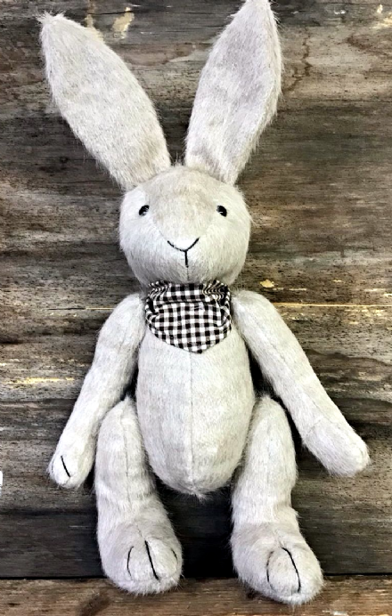 Vintage Hare with Neck Scarf Decorative Old Fashioned Soft Toy